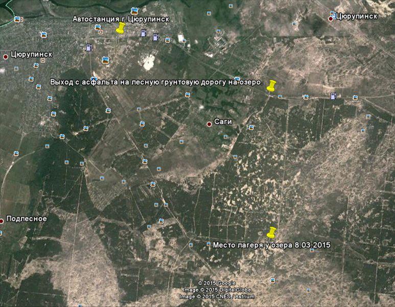 Карат маршрута и место встречи и лагеря 8.03.2015