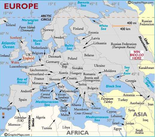 Карта Европы по версии www.worldatlas.com