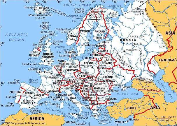 Карта Европы по версии www.britannica.com